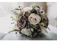 Artificial wedding flowers - Bride, 1 Bridesmaid & flowergirl bouquets