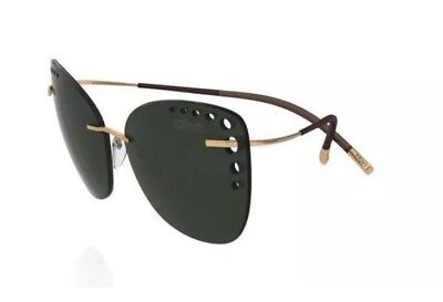 Silhouette TMA ICON 8157 20 6205 Sunglasses Frames Gold Green G-15 Lens