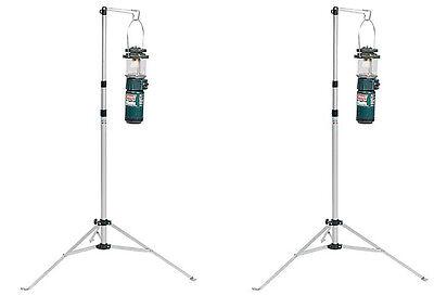 (2) COLEMAN Multi-Purpose Durable Aluminum Camping Lantern Stands w/ Carry Case