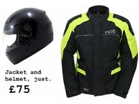 Motorcycle Jacket and helmet. New. All sizes available