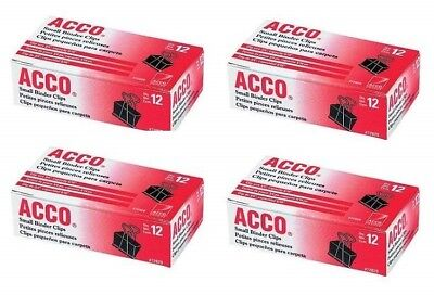 Acco 44390 Binder Clips - Small - 4 Packs Total Of 48 Binder Clips