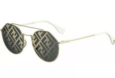 Fendi EYELINE Sunglasses FF M0021 Gold White Grey Graphic Mirrored 24S Men (Vivid Sunglasses)