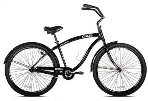 "Beach Cruiser Bicycle Mens Bike 29"" Black Aluminum Frame 1-speed Ride On Outdoor"