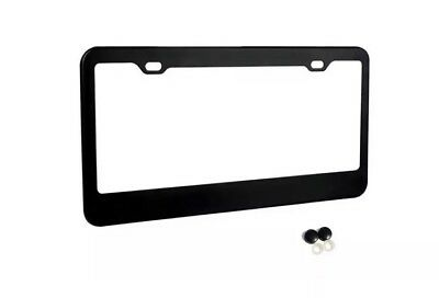 - MATTE BLACK STAINLESS STEEL METAL LICENSE PLATE FRAME+SCREW CAPS TAG COVER
