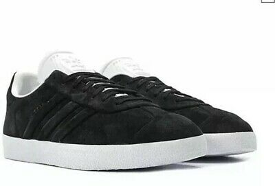 Black Lace Up Stitch (NWT Size 4.5  Adidas Gazelle Stitch And Turn Men's Black Lace Up Sneakers Shoes )