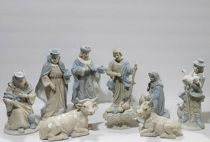 1992 HOLIDAY CLASSICS™ 9-Pc HANDPAINTED Porcelain NATIVITY SET Deluxe Ed 2 Flaws