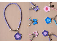 Plaited cord bracelet with daisy/butterfly charm - JTY030