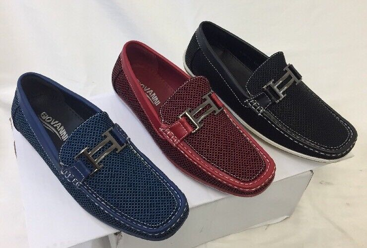 MEN GIOVANNI DRESS SHOES LOAFER CASUAL STYLE SLIP-ON BLUE RED BLACK M15-517 NEW