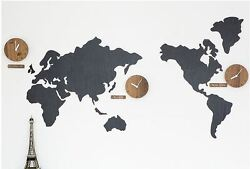 Large World Map Wall Clock Wooden DIY Sticker Puzzle Decor Interior Gift - Black