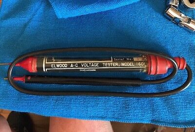 Vintage 120-600 Voltage Electrical Tester Model 1601 The Elwood Corp.
