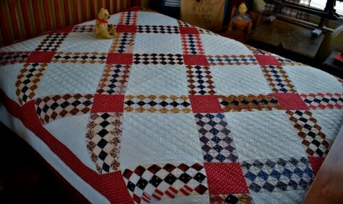 Antique Hand Stitched Calico Triple Irish Chain Quilt *