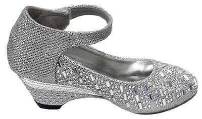 GIRLS DIAMANTE SPARKLY SPECIAL OCCASSION LOW HEEL PRINCESS SHOES - Special Occassion Shoes