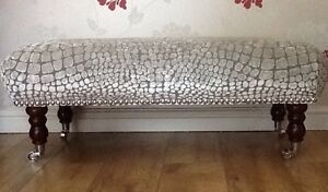 A Quality Long Footstool In Designers Guild Nabucco Pearl Fabric