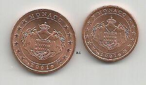 MONACO 2001 LE DUE MONETE DA 1 CENT e 2 CENT BU/UNC DA DIVISIONALE - Italia - MONACO 2001 LE DUE MONETE DA 1 CENT e 2 CENT BU/UNC DA DIVISIONALE - Italia