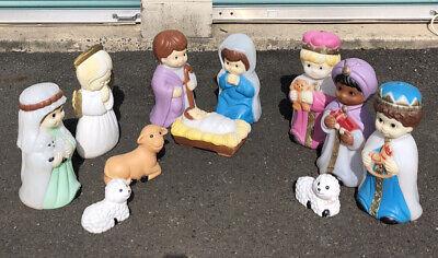 Vtg Lot 11 Nativity Blow Mold Set Christmas Manger Scene Light Yard Empire '96