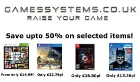 Save up to 50% on Xbox One PS4 Switch Wii U Xbox 360 PS3 Wii 3DS 2DS PS Vita PC & VR items!