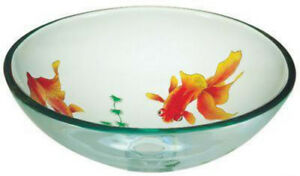 BathrooGlass Vessel Vanity Etched Gold Fish Round Sink & Chrome Drain & ring A15