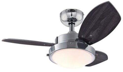 "Westinghouse 7876300 Wengue Chrome 30"" Ceiling Fan with Ligh"