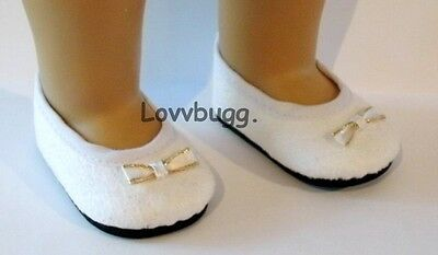 "Lovvbugg White Velvet w Bow Colonial for 18"" American Girl or Bitty Baby Doll Shoes"
