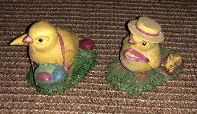 2 Dept. 56 Easter Figurines Chick with Easter Eggs in Basket & Bunny Wagon 3""