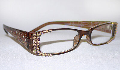CRYSTAL READING GLASSES RHINESTONE READERS BROWN MADE WITH SWAROVSKI NEW +1.50!