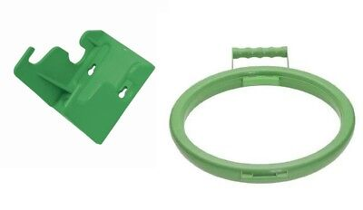 Wall Bracket & Handy Hoop Ring Sack Bin Bag Holder Plastic with Handle Green