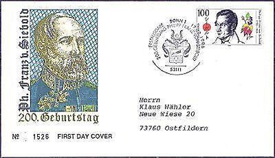 BRD 1996: Philipp Franz von Siebold! FDC Nr. 1842! Gelaufen! Stempel Bonn! 1807