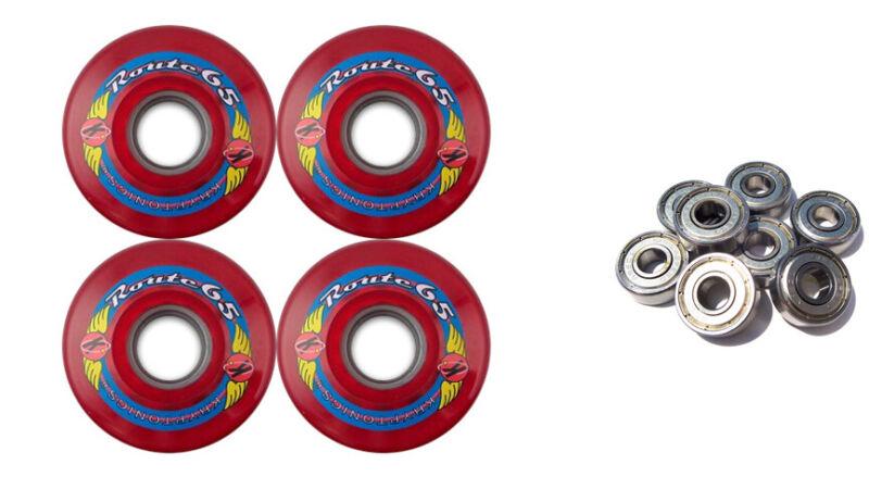 KRYPTONICS ROUTE 65MM 78A RED Longboard Skate Wheels + ABEC 9 BEARINGS