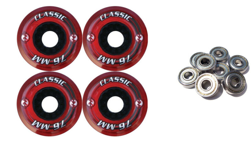 KRYPTONICS CLASSIC 76MM 80A RED Longboard Skate Wheels + ABEC 9 BEARINGS