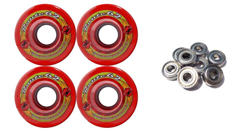 KRYPTONICS ROUTE 62MM 78A RED Longboard Skate Wheels + ABEC 9 BEARINGS