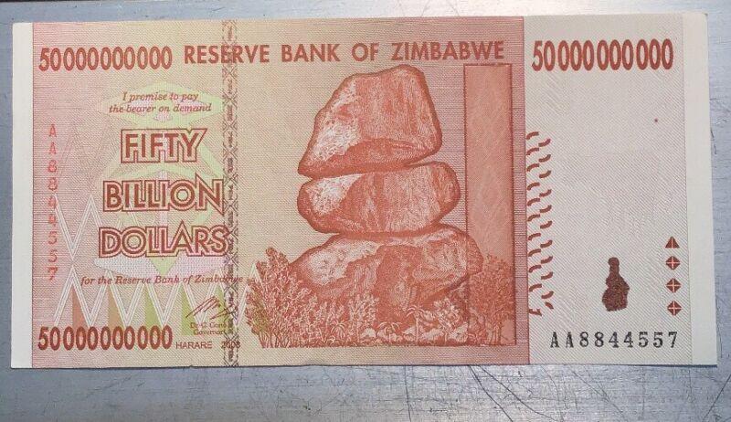 Zimbabwe 50 Billion Dollars 2008