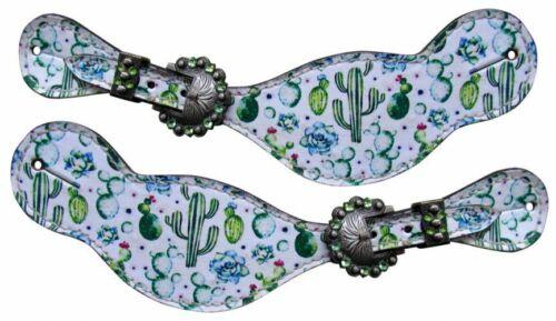 Showman Ladies Cactus Print Leather Spur Straps