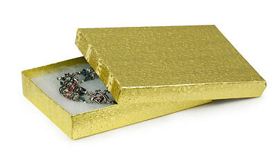 """Gold Foil Jewelry Gift Boxes 100 Textured Cotton Filled Retail 5 ¼"""" x 3 ¾"""" x 1"""