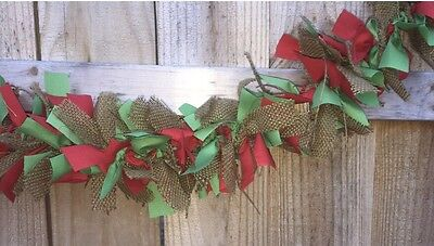 Burlap Green And Red Christmas Mix Rag handmade Garland 5ft Perfect For - Mantle Garland