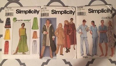 - Lot Of 3 Simplicity Sewing Patterns Ladies Pjs Coats  Size AA #7513 #9478 #9898