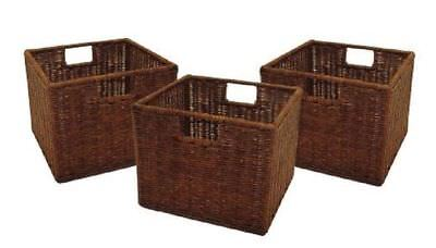 - Rattan Storage Baskets Square Woven Basket For Shelves Wire Small Wicker 3 Set
