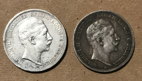 Prussia (Germany) - (2) Large Silver 5 Marks (1899 & 1904)