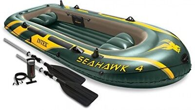 Inflatable Fishing Boat 4 Person Boating Set Aluminum Oars S