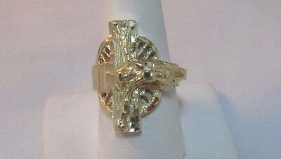 14K Solid Gold Jesus, Crucifix Ring  Size 9      SALE-SAVE $1,100.    #R41