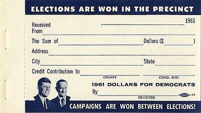 1961 Kennedy Johnson Democratic Party Contribution Receipt Blank (1476)