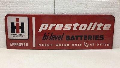 HTF Vintage International Harvester Prestolite Batteries Tin Sign / IH / Gas Oil