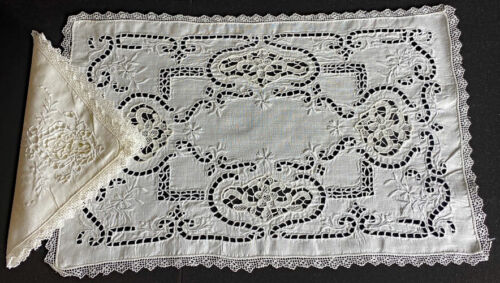 8 Vintage Antique Openwork Linen Placemats & Napkins Needlelace Insertions  WW94