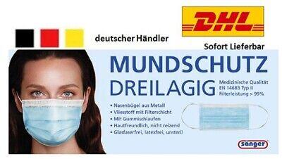 50 Stück Mundschutz Medizinische Maske Einweg Mund-Nasen-Schutz OP-Maske 3-lagig