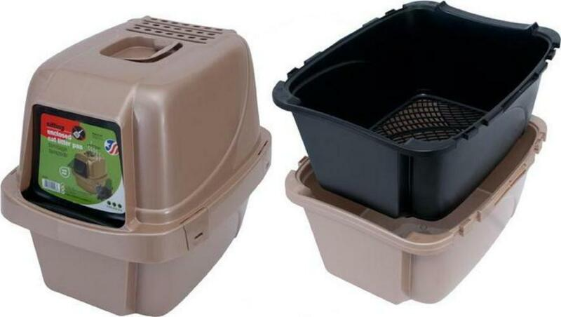 Large Cat Litter Box Sifting Enclosed Odor and Stain Resistant Plastic BPA Free