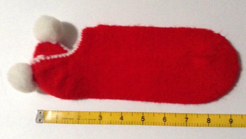 """Vtg 70s Womens Pom Pom Socks Red White Unbranded Unsized 9-9.5"""" Prop 1 Pair"""