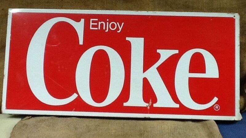 Vintage Enjoy Coke Metal Advertising Sign Original Condition, Coca Cola