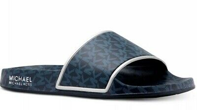 New Michael Kors Nolan Slides Slip On Sandal Logo Print Mini MK Admiral blue