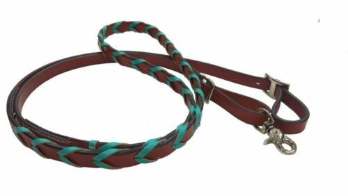 Turquoise Laced Genuine Leather Barrel Horse Contest 8