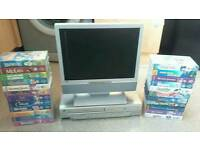 Slim 15 LCD screen VCR/DVD combi with 23 Disney videos 7dvds