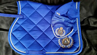 Fair Play Blue Royal Diamonds Close Contact Saddle Pad & Fly Veil Set Size Full - fair play - ebay.co.uk